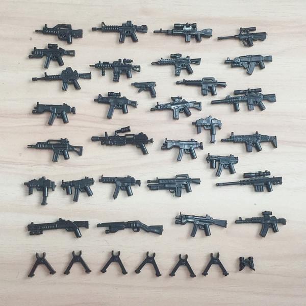 Pistole Armi Set Disegnato per Minifigures, Accessori Militari da Costruzione Militari, WW2 Polizia SWAT Giocattoli Legocompatibili