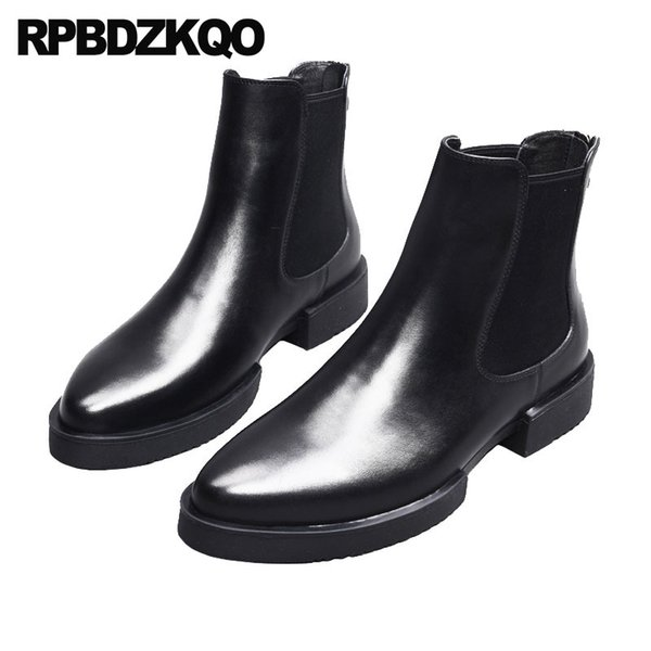 Ankle Formal Mens Pointed Toe Dress Boots Chunky Chelsea Booties Korean High Top Shoes Fall Platform Full Grain Black Handmade