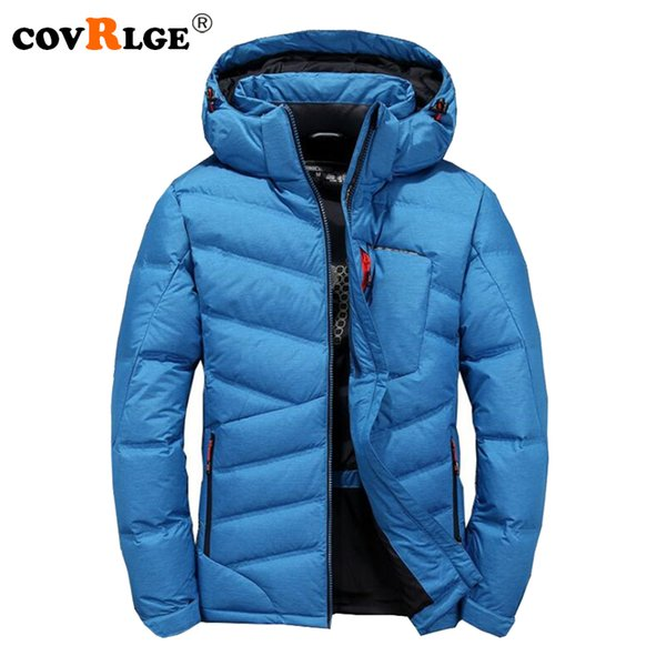 covrlge 2018 new men brand down jackets casual men's jacket with hood winter thick warm mens outerwear plus size overcoat mwy014