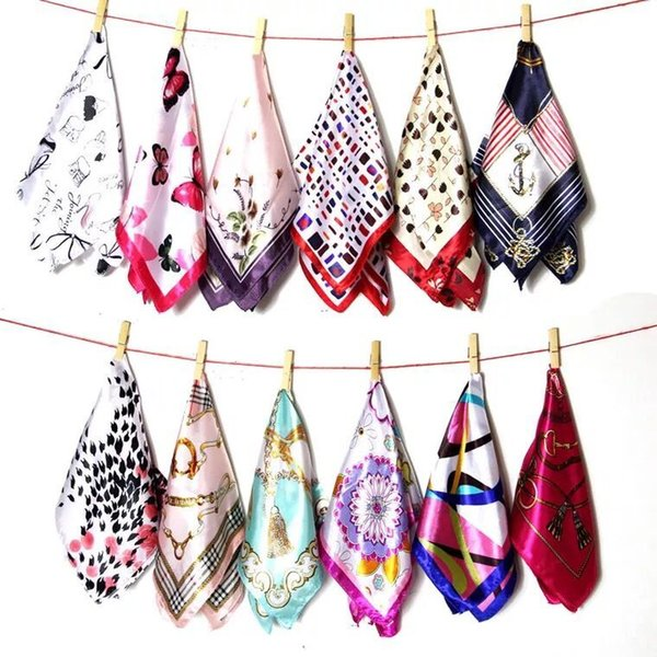 Women Ladies Vintage Silk Feel Satin Square Scarf Head Neck Hair Tie Band 20 colors can be selected