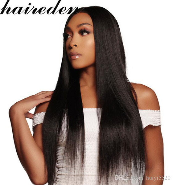 Pre Plucked Full Lace Human Hair Wigs With Baby Hair For Women Natural Black 180% Straight Brazilian Virgin Hair Wigs