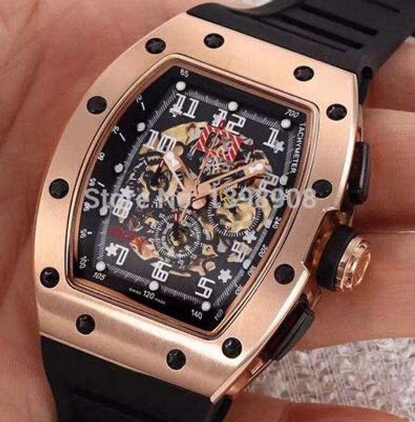 Luxury Watch New Super Cool 011 Le Mans Classic Rose Gold AAA Black Rubber Bracelet men mens watch Wristwatches Clock