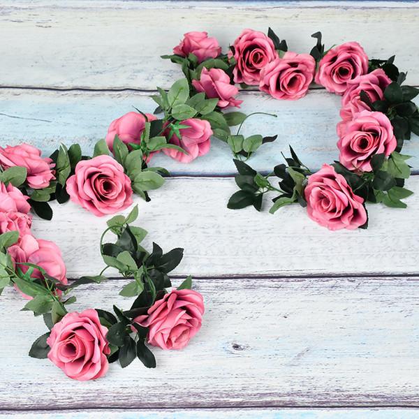 7.5ft Artificial Rose Flower wedding garland Rattan Fake Ivy Vine Leaf Hanging Garland Home Wedding Decor,Pack of 1