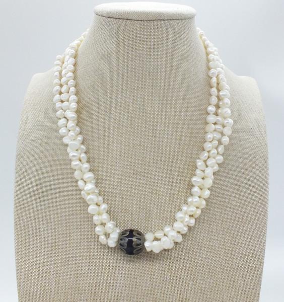 бесплатная доставка. 3 пряди натуральное барочное пресноводное жемчужное белое ожерелье 18