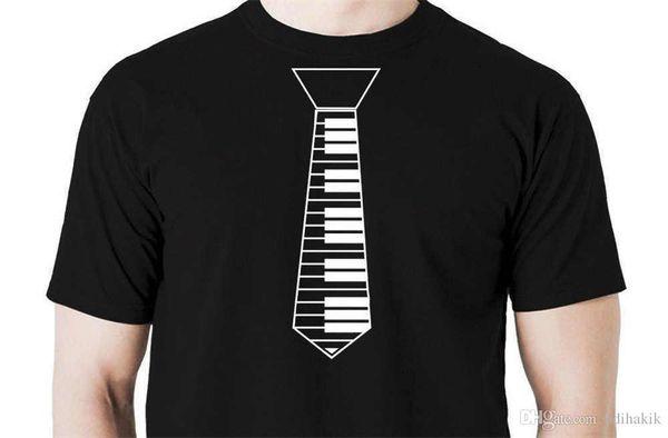 Sommer 2018 neue Piano Tie T-Shirt lustige Musik Musiker Tastatur Gig Shirt Kurzarm Rundhalsausschnitt Mode