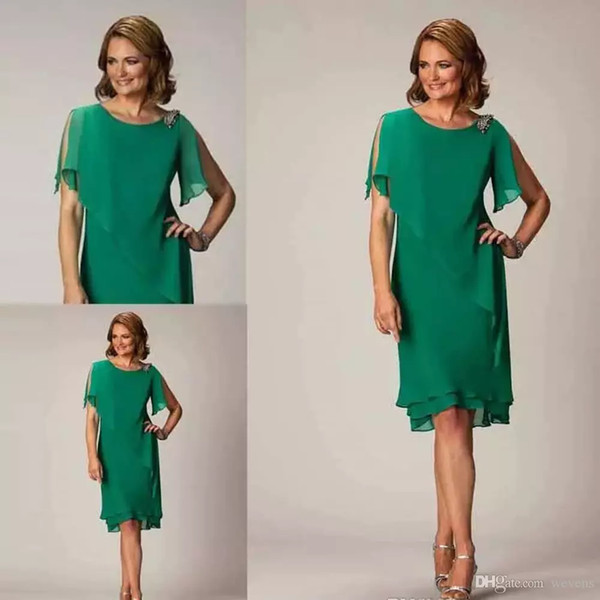 simple green sheath tea length mother of the groom dresses jewel neck short sleeve crystal wedding guest dress ladies cocktail party gown