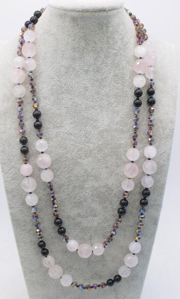rose quartz faceted round 10-12mm &black agate necklace 55inch FPPJ wholesale beads nature