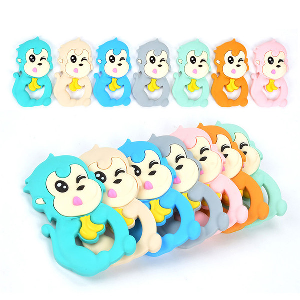 Monkey Silicone Teethers BPA Free Chew Bead Animal Teether Silicone Pendant Baby Teething Toys Lovely Monkey Chewable Toy
