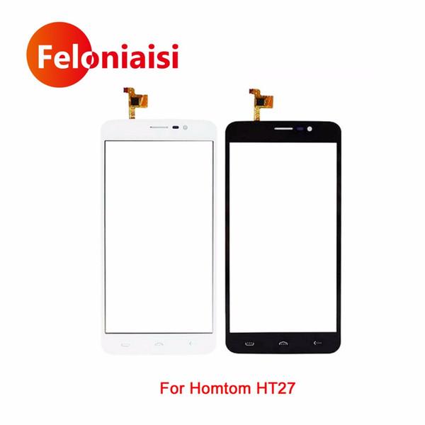 "10Pcs/lot High Quality 5.5"" For Homtom HT27 Touch Screen Digitizer Sensor Glass Lens Panel Black White+Tracking Code"