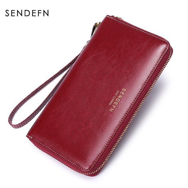 SENDEFN Brand Women' Wallet Ladies Luxury Purse 2018 Long wallets Soild Female Fashion Leather Clutch Zipper Bag Can Hold 7Plus
