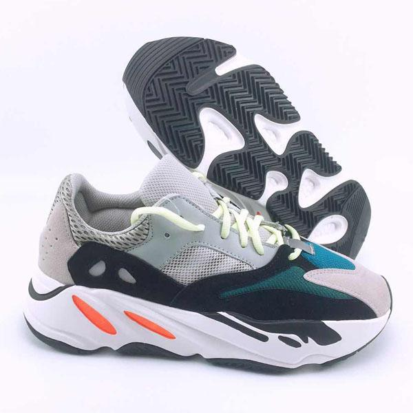 wholesale wave runner 700 kanye west glow in dark reflective line 2017 new running shoes size 36-46 with bottom and 3m material