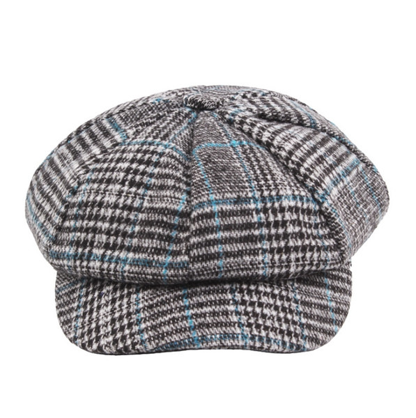 Ladies autumn and winter retro plaid wool knit newsboy hat Korean version of the tide octagonal hat casual fashion wild hat