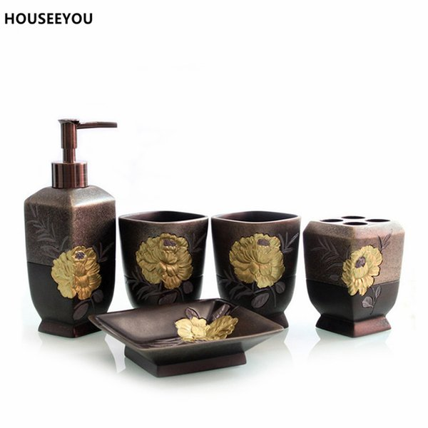 Bathroom Accessories Set Resin Soap Dish Bath Set Bathroom Acessories Toothbrushes Cup Holder Soap Dispenser Set Banheiro Gifts