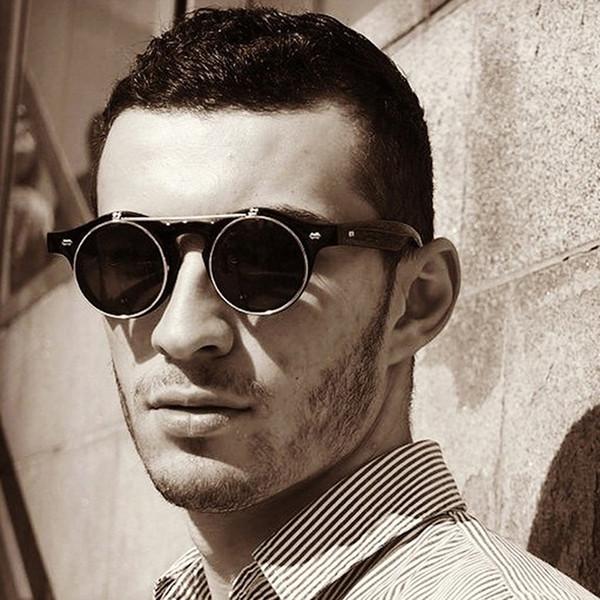 Vintage Round Sunglasses Men Brand Designer 2018 New Steampunk Flip Up Sun Glasses Male Cool Black Shades Unisex Eyewear