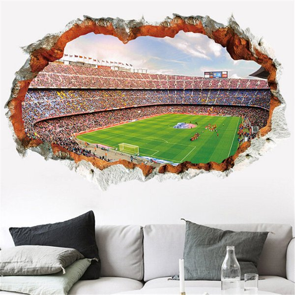 World Cup Series 3D Football Hole Wall Stickers Waterproof Soccor Playground Removable Sticker Living Room Art Decal Home Decor