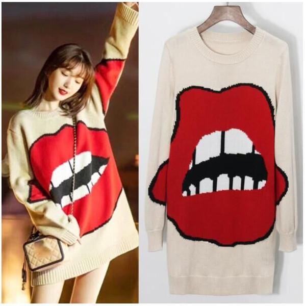 Fashion Design caldo delle donne di primavera 2019 Big Red Lips Pattern Pullover lavorato a maglia Casual maglione allentato Fit stile accademico Knit Jumper Top