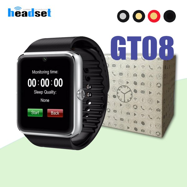 GT08 Bluetooth Smart Watch prend en charge la fente pour carte SIM Watch pour Android Samsung Smartphones Bracelet Smartwatch