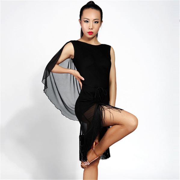 New Women Latin Dance Dress salsa tango Cha cha Ballroom Competition Practice Dance Dress Sexy Sleeveless Tassel Dress 2Color S-XL