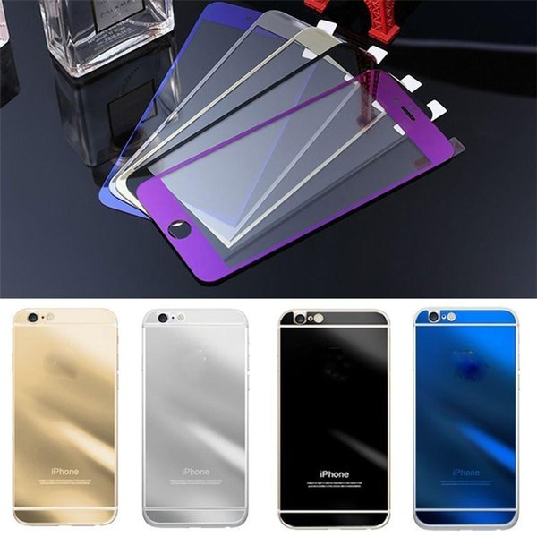 Gold Mirror Effect Colored Tempered Glass For iphone X 8 Colorful Screen Protector Front and Back High Quality Explosion Proof