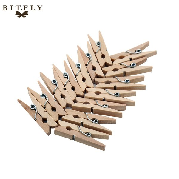 BITFLY 100pcs Mini Natural Wooden Clips For Photo Paper Clips Clothespin diy Craft Wedding Party Decoration Office Supplies