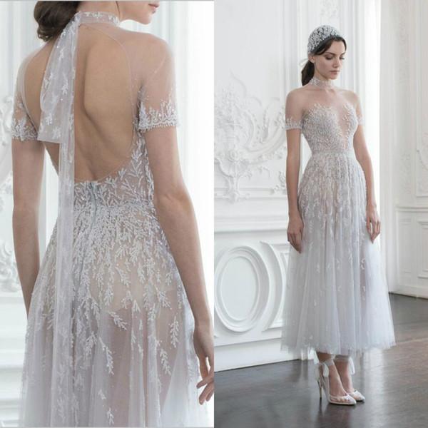 Paolo Sebastian 2019 Evening Dresses A Line High Neck Backless Applique Lace Beaded Short Sleeve Tea Length Party Prom Dress Robes De Soirée