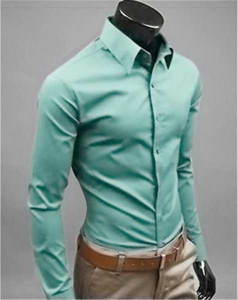 New Fashion Brand Grey green Groom Shirts Long Sleeve Shirt Men Slim Design Formal Casual Male Dress Shirt Size M-5XL (C8007)