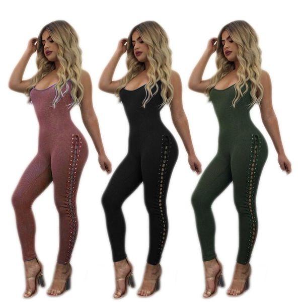 Tute per le donne New Condole cintura Slim Thin Chest Set foro pizzo un pezzo pantaloni Nightclub sexy Tuta Combinaison Femme pagliaccetto FZ-043