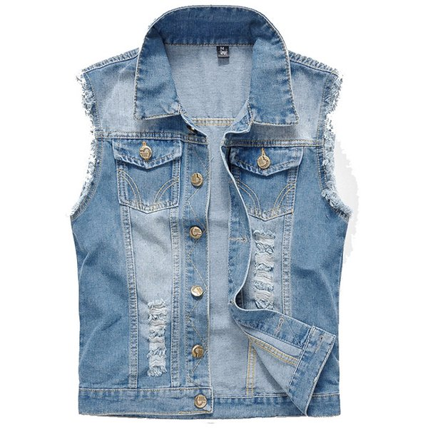 Denim Vest Men Sleeveless Jackets Washed Jeans colete masculino Waistcoat For Mens Fashion Tank Top Cowboy Male Vest Jacket