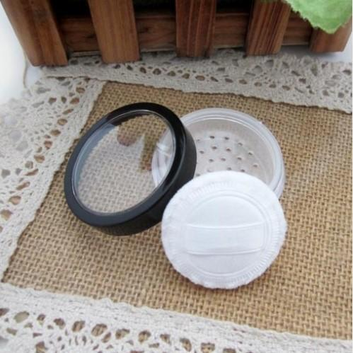 20ml/15g loose powder jar with sifter nail glitter container with clear window black rim cap