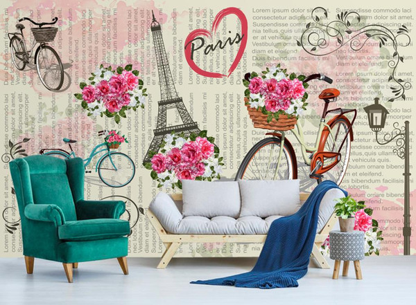 Custom Photo Wall Mural Wall Papers Home Decor Paris bicycle flower TV mural background Wallpaper For Wall 3D Fashion 3D Murals