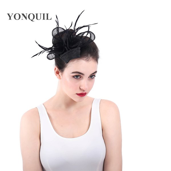Fascinator Hat Women Net Feather Fascinator Hair Clip Wedding Church Ascot Cocktail Party Hair Decor Headwear ladies race accessories SYF344