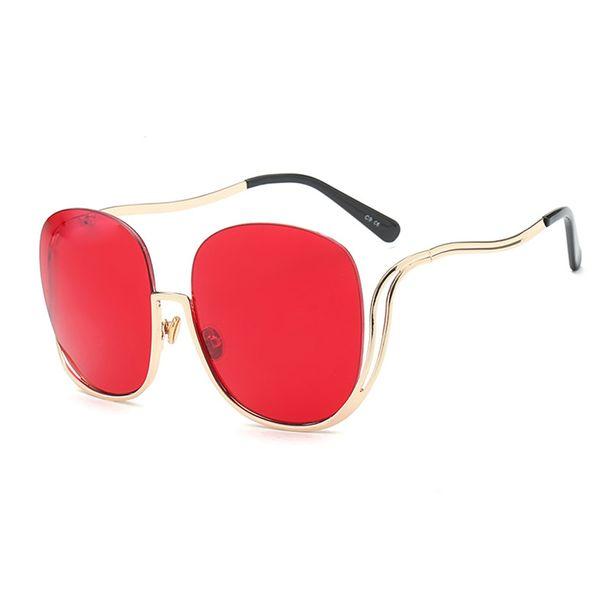 HOKU New Fashion Women Sunglasses Sexy Big Size Rimless Sun Glasses Ladies Round Metal Frame Anti-Reflective Party Eyewear W418