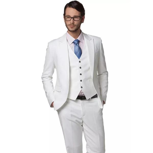 2018 White Men Suits For Wedding Suits Blazer Business Tuxedo Custom Made Groom Wear Prom Dress Slim Fit Formal Best Man Jacket+Pants+Vest