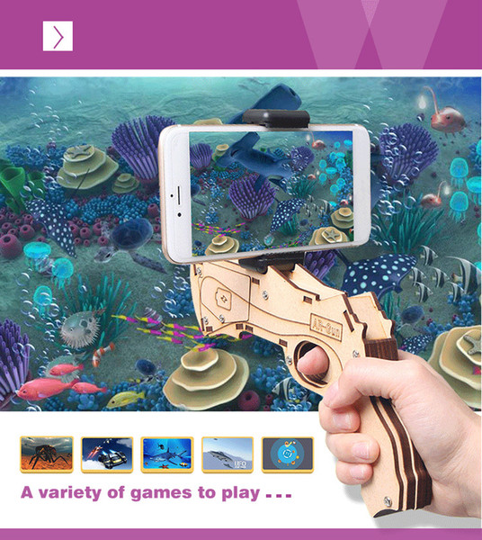 DIY дополненной реальности AR пистолет с сотовый телефон стенд держатель Беспроводной Bluetooth деревянный AR игрушка игры пистолет с 3D AR игры для телефона