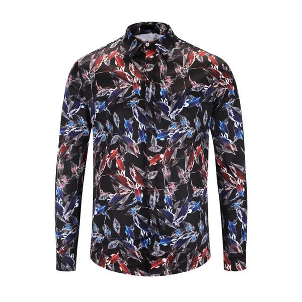 2018 automne et hiver nouvelle mode chemise à manches longues Medusa 3D chemise imprimé floral chemise de banquet de luxe des hommes M-2XL