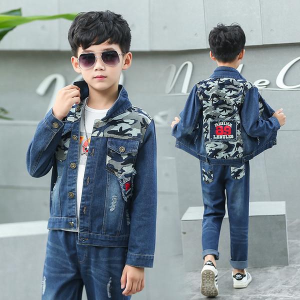 Children Clothes Spring Autumn Boys Denim Clothing Sets High Quality Kids Jean Jacket & Pants 2pcs Boys Suit