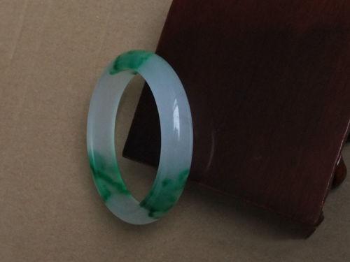 Real Green Flower Burma Ice Jade Lady Bangle Genuine Woman Jadeite Bracelet TRUE