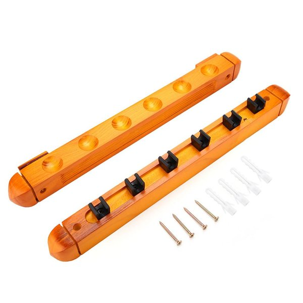 6 Holes Wall Mounted Pool Cue Rack Wood Billiards Cue Pole Holder Rack Sticks Holder Organizer Carrier Accessory