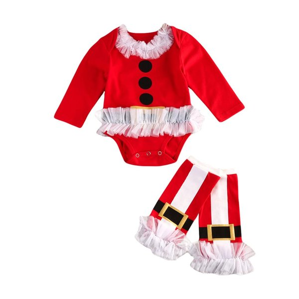 Lovely Newborn Baby Girl Christmas Clothes Long Sleeve Lace Ruffles O-Neck Belt Dots Romper Tulle Leg Warmers 2Pcs Outfits 0-24M