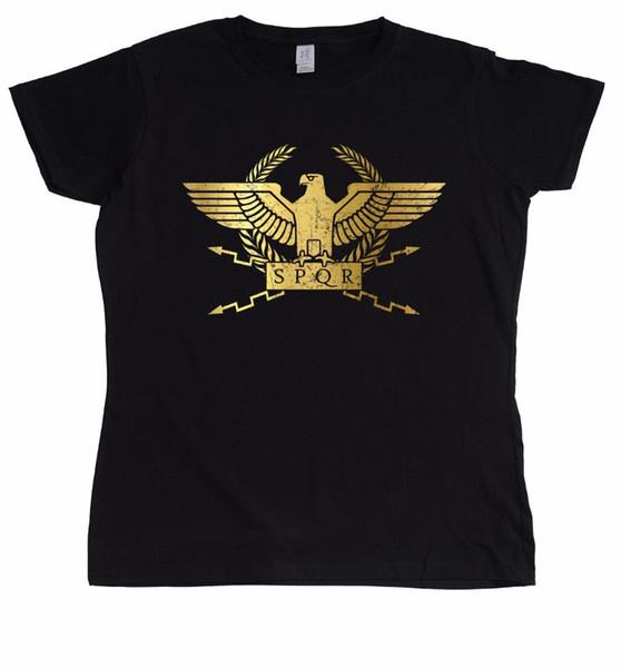 La camiseta de las mujeres 2018 La camiseta de las mujeres Ropa divertida de la manera Camisetas ocasionales de manga corta Camisetas Legión romana de Spqr Diseño femenino Camisetas
