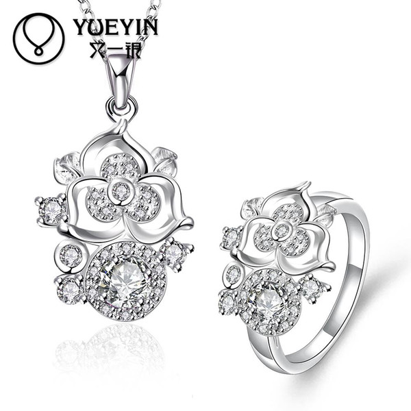2018 Woman 925 Sterling SilverJewelry Sets Cubic Zircon Crystal ring & Pendant Necklace Nice Gifts S095-D
