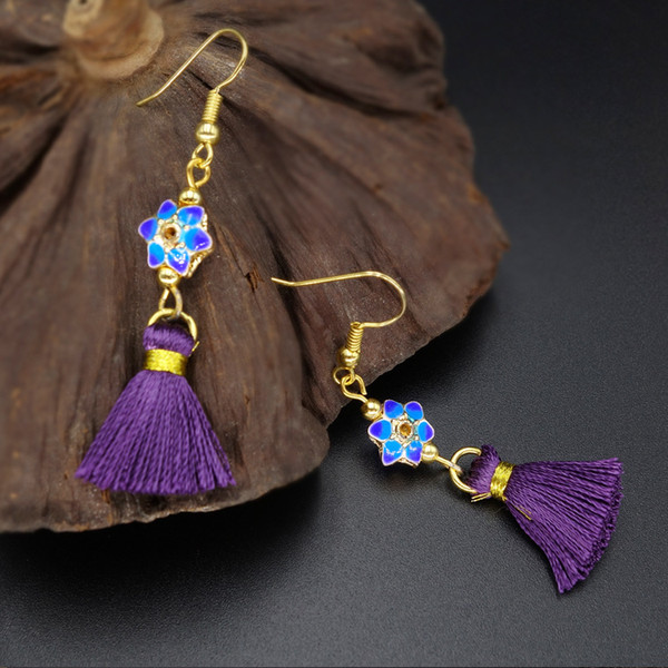 factory Whollesale New 2018 fashion Women's Ethnic style jewelry Cloisonne fringed temperament earrings tassel earings Dangle