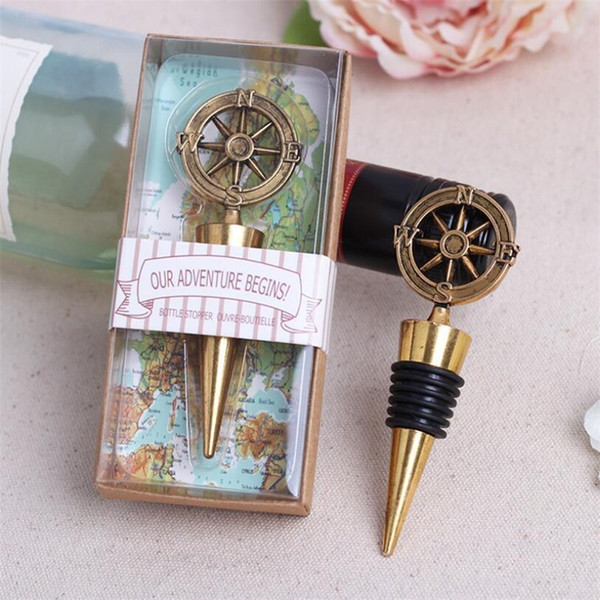 best selling Fashion design Opener Stopper Bar Tools Golden Compass Wine Stopper Wedding Wine Bottle Favors hot sale