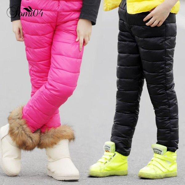 0d29308cd77d61c Зима детская хлопок вниз брюки теплая одежда 2018 мальчики девочки Высокая  Талия утолщение брюки для детей