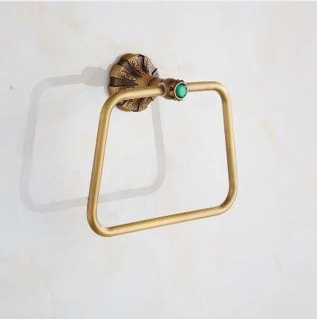 Carving Antique Brass Wall Mounted Towel Ring Unique Design Bathroom Bath Towel Rack Free Shipping Wholesale And Retail 9075K