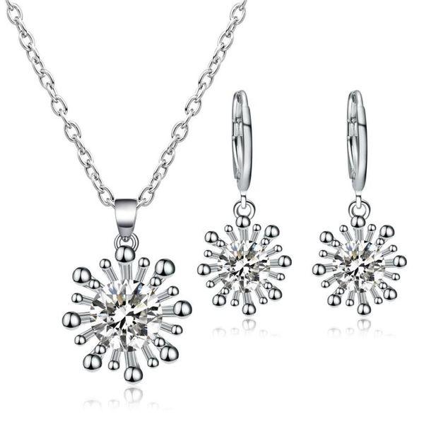 2018 Selling fashion sexy necklace Women's Zircon Pendant Ear Studs Ornament Jewellery Suit