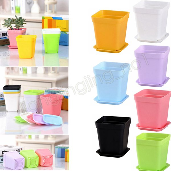 7*7*8cm Bonsai Planters Plastic box Table Mini Succulents Plant Pots and Plate Gardening Vase Square Flower Pot GGA571 120pcs