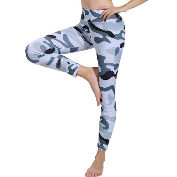 Women Plus Size Leggings Breathable High Yoga Camouflage Sport Waist Fitness Pants Running Camo