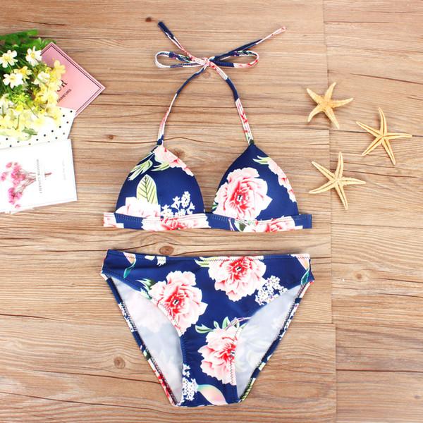 2018 Dark blue Pink and Yellow temperament swimsuit sexy bikini Women's Swimwear