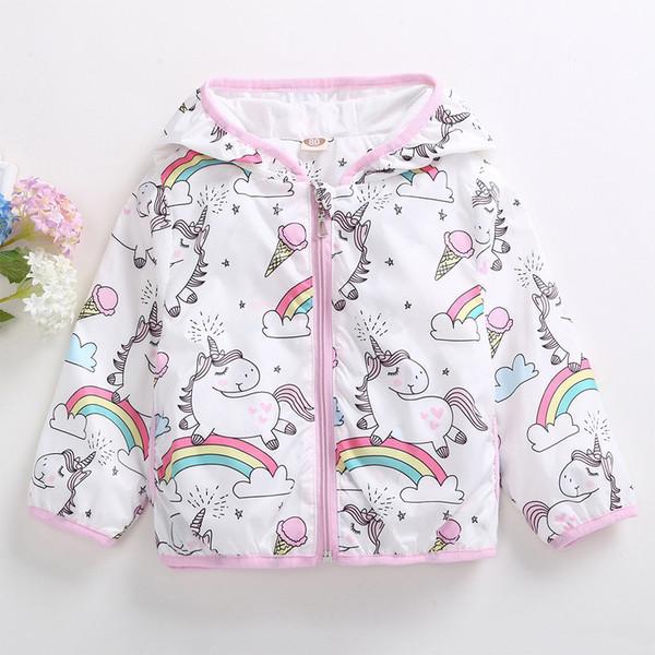 Mode Baby Mädchen Hoodies Reißverschluss Cartoon Regenbogen Einhorn Jacke Mädchen Mantel Trenchcoat Für Baby Sweatshirt Mädchen Herbst